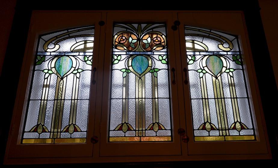 Un vitrail d'origine (Le Soleil, Erick Labbé)