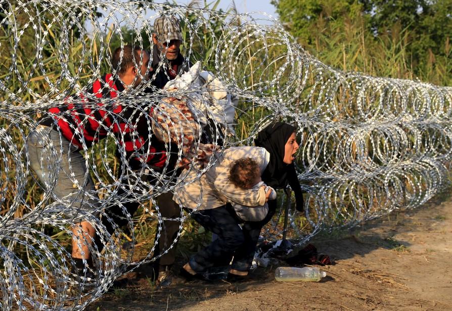 Des migrants syriens traversent une clôture de barbelés... (Photo Bernadette Szabo, Reuters)