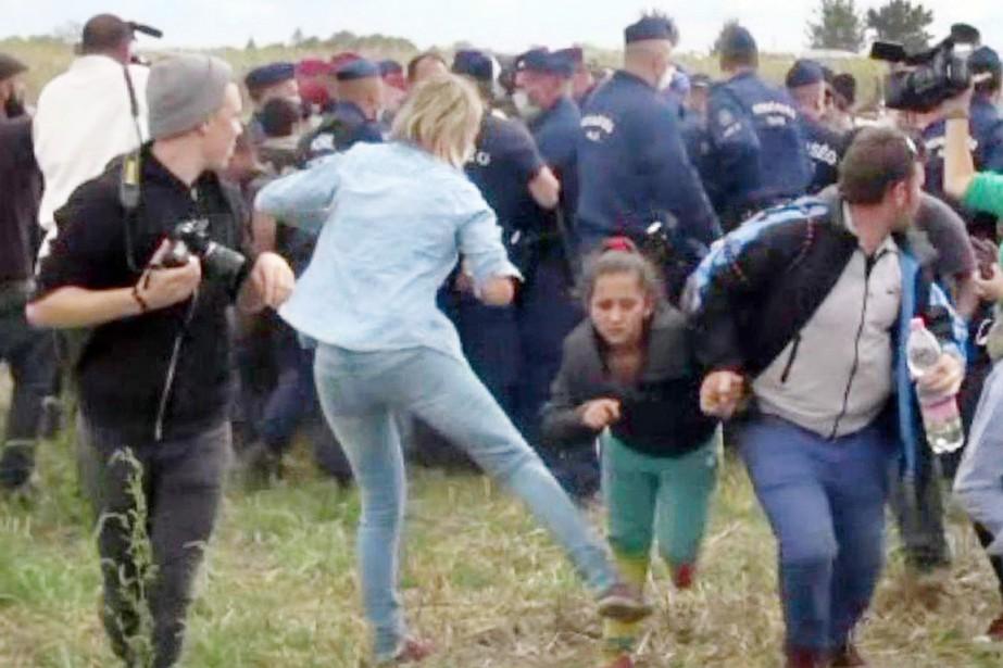 Les images de l'opératrice de télévision donnant des... (PHOTO ARCHIVES AFP/INDEX.HU)
