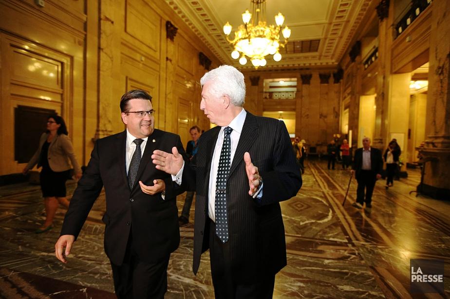 Longtemps adversaires à Ottawa, Gilles Duceppe et Denis... (PHOTO MARTIN CHAMBERLAND, LA PRESSE)