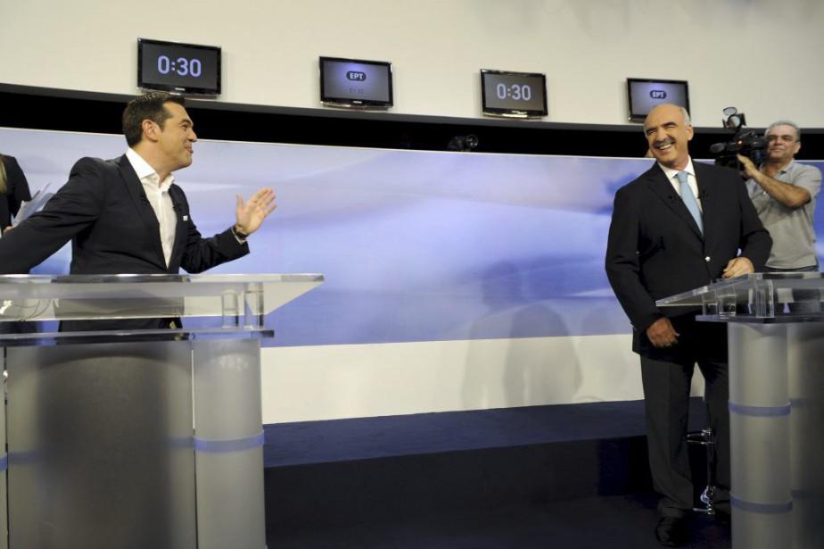Alexis Tsipras etEvangélos Meimarakis... (PHOTO MICHALIS KARAGIANNIS, REUTERS)