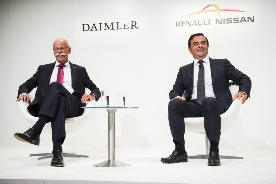 Dieter Zetsche, patron de Daimler, et Carlos Ghosn,... (Photo Odd Andersen, AFP)