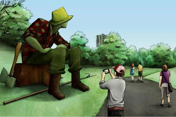 Le légendaire <em>Jos Montferrand</em> s'insérera dans le paysage du parc Jacques-Cartier en 2017. Le célèbre bûcheron devrait faire entre cinq et sept mètres de haut. (Courtoisie)