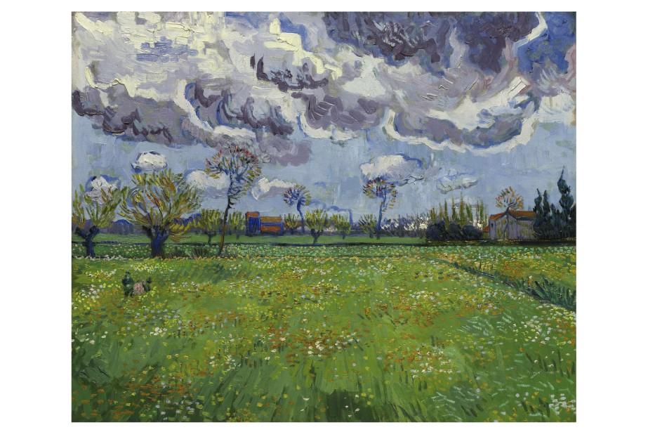 Ce paysage peint par Vincent van Gogh en 1889, un an avant sa mort sera mis en vente cet automne par la firme Sotheby qui a diffusé la photographie de l'oeuvre lundi, 21 septembre. Le paysage représentant un champ à Arles dans le sud de la France est estimé entre 50 millions $ et 70 millions $. Le record pour un van Gogh est 82,5 millions $. | 21 septembre 2015