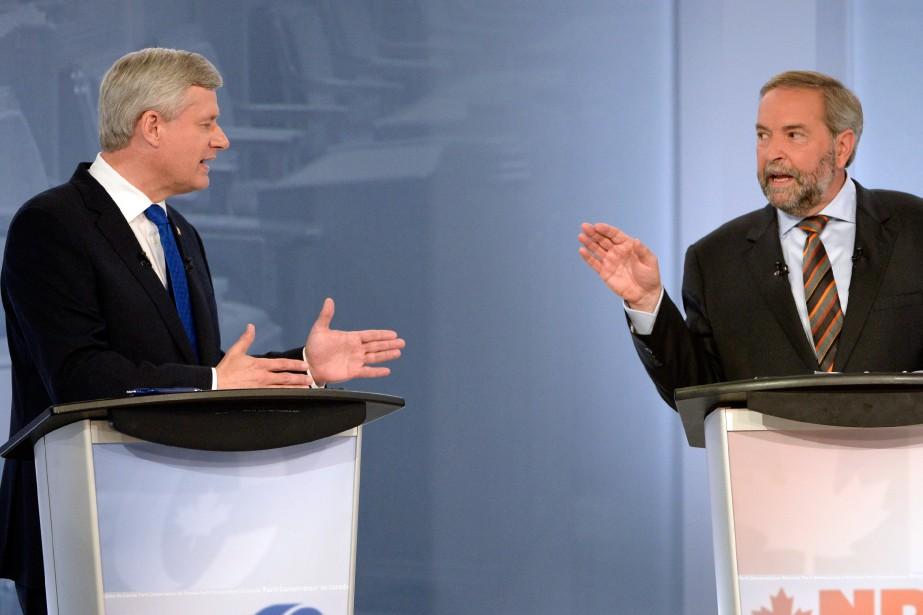 Les chefs du Parti conservateur, Stephen Harper, et... (Photo Bernard Brault, La Presse)