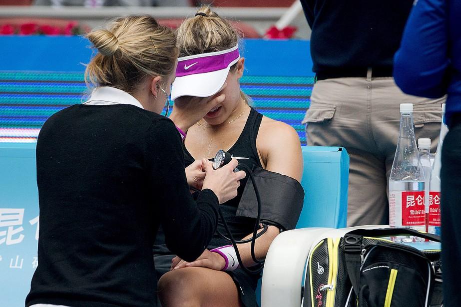 Eugenie Bouchard a fondu en larmes après avoir... (Photo Andy Wong, AP)