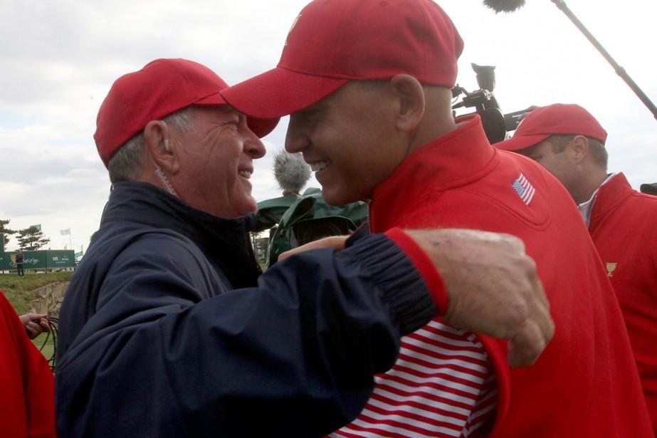 Bill Haas, le fils du capitaine Jay, a... (Photo Ahn Young-joon, AP)