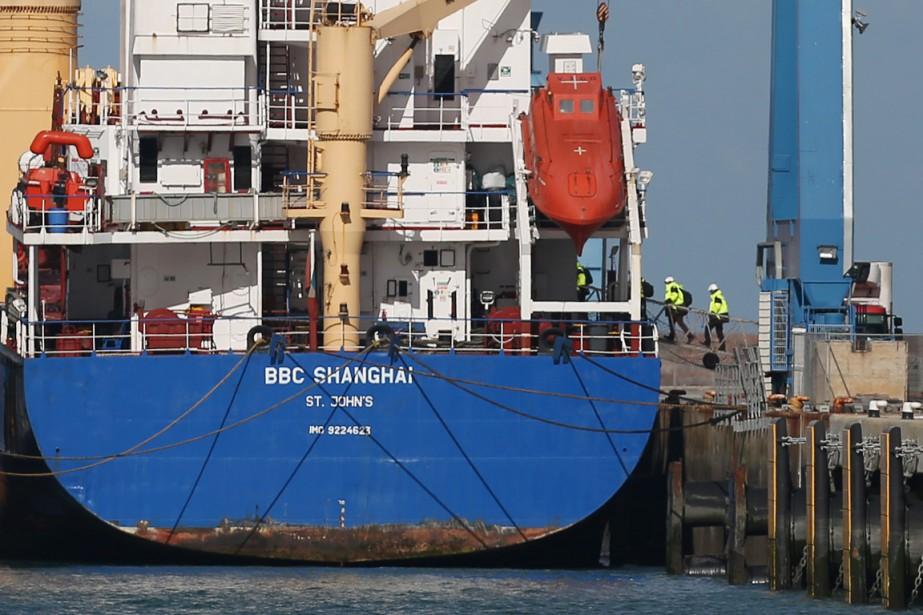 LeBBC Shanghaiest arrivé mercredi à Cherbourg.... (PHOTO CHARLY TRIBALLEAU, AFP)