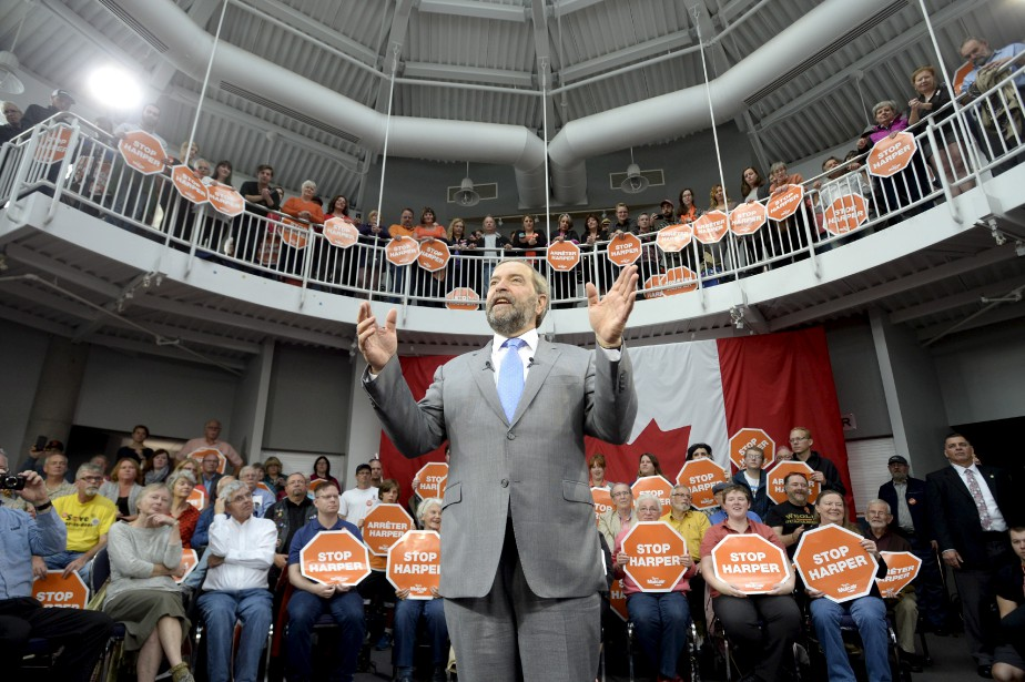 Thomas Mulcair lors d'un rassemblement néodémocrate. (Ryan Remiorz, La Presse Canadienne)