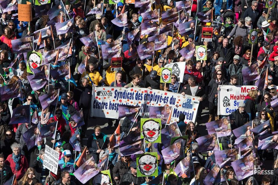 Les syndicats duFrontCommun ont manifesté à Montréal le... (PHOTO ROBERT SKINNER, ARCHIVES LA PRESSE)