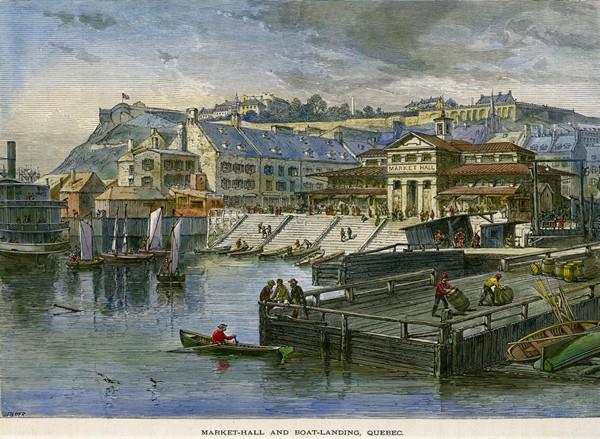 Vue du marché Finlay vers 1872 (J. Filmer. AVQ, cote E6420)