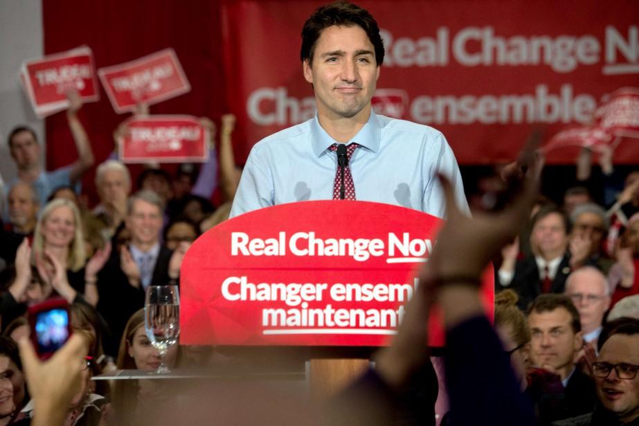 Justin Trudeau lors du rassemblement libéral de mardi.... (PHOTO NICHOLAS KAMM, AFP)