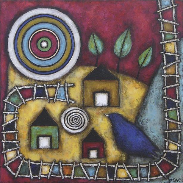 <em>Le bon oiseau pour moi</em>, acrylique sur toile de 61 cm X 61 cm de l'artiste peintre de Québec Isabelle Lockwell, 755 $ au <a href=