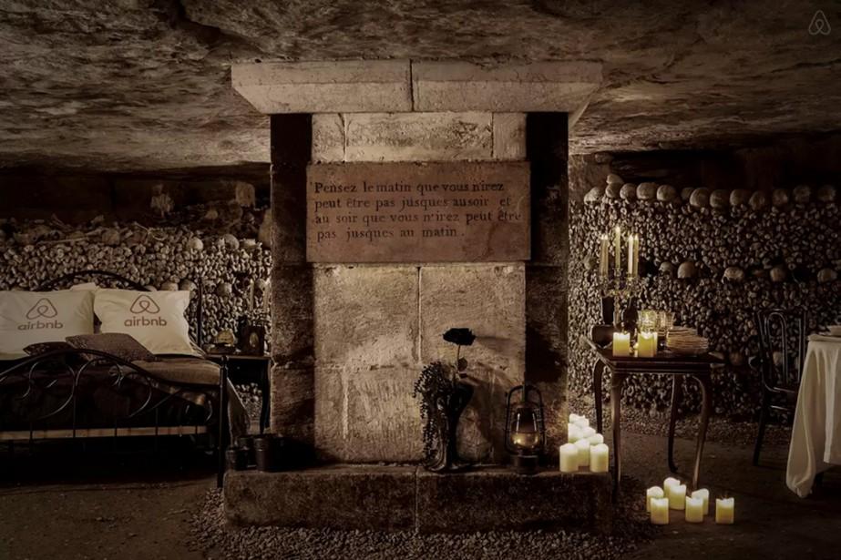 Les catacombes comprennent des murs entiers d'ossements provenant... (Photo tirée du site Airbnb)