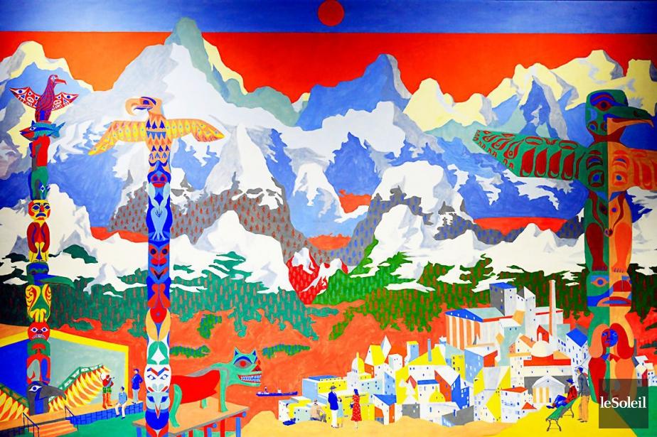 Les deux grands tableaux riches en couleurs, intitulés... (Caroline Grégoire, Archives Le Soleil)