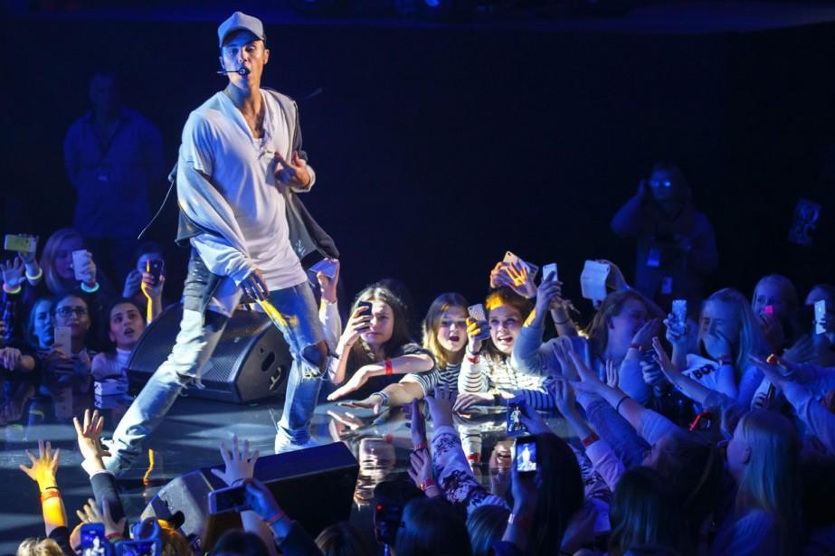 Justin Bieber lors d'un spectacle à Oslo.... (Archives AP)