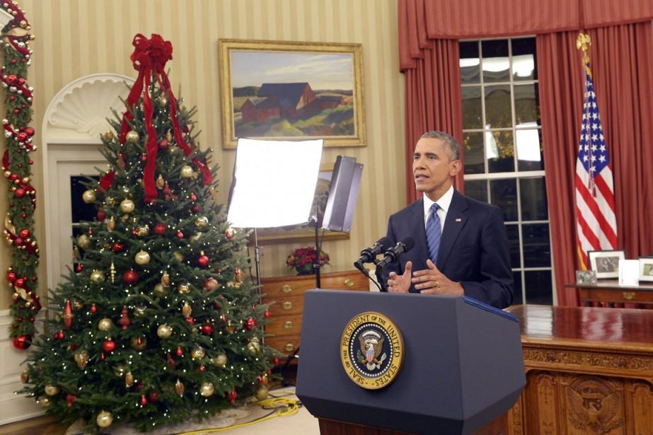 Le président des États-Unis Barack Obama s'est adressé... (PHOTO SAUL LOEB, AP)