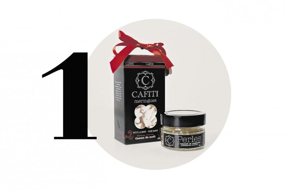 Meringuesà la canne de Noël, perles dechampagne, Cafiti. Pour satisfaire vos becs sucrés préférés et pour agrémenter les hors-d'oeuvre et les huîtres.10,30$ et 5,50$.<a href=