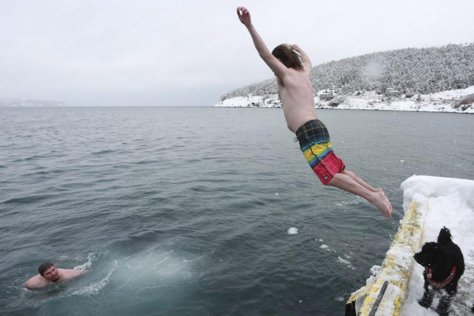 Dix personnes ont plongé dans l'océan Atlantique à... (Photo Paul Daly, La Presse Canadienne)