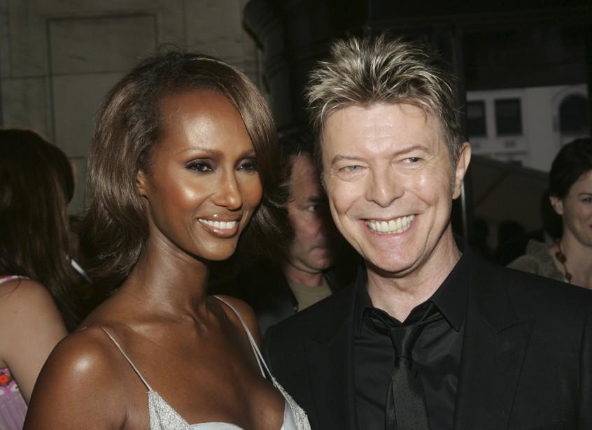 En 2005 avec Iman. (Agence France-Presse)