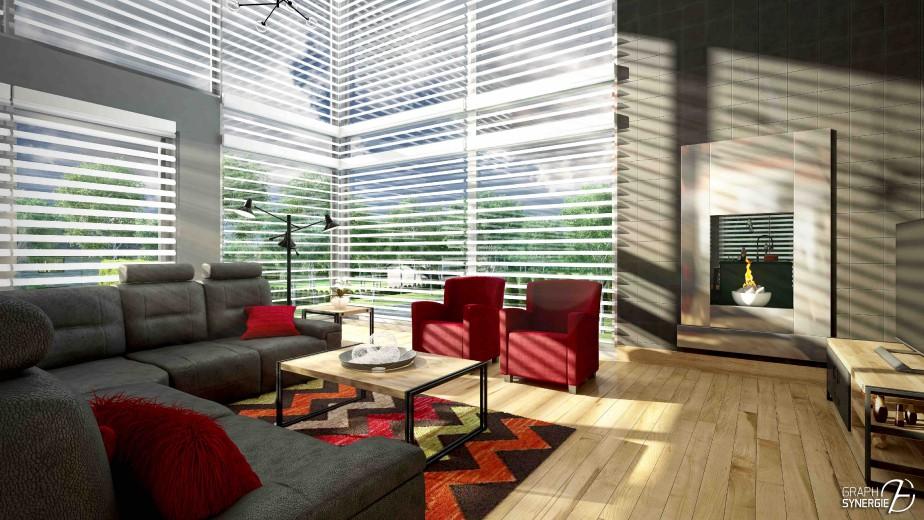 Le salon bénéficie d'une lumière abondante qui pénètre dans la maison par des fenêtres de type mur rideau. (graph Synergie)