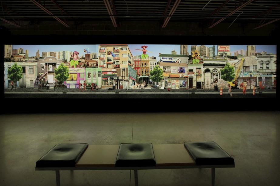 L'oeuvre vidéo <em>Urban Terrarium</em> au Mois Multi (Photo Allison Moore)