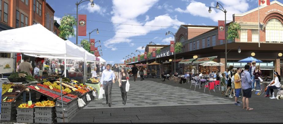 Dans un premier temps, il s'agira en 2016 de créer un lieu de rassemblement devant le bâtiment du marché By, rue George. ()