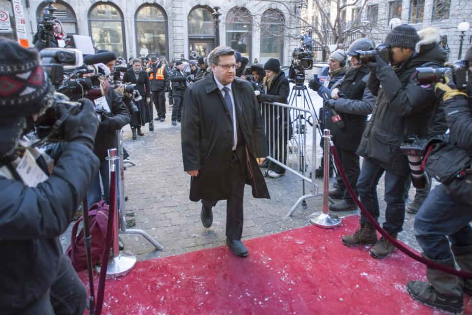 Le maire de Montréal Denis Coderre à son arrivée à la Basilique. (PHOTO LA PRESSE CANADIENNE)
