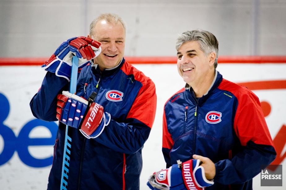 Michel Therrien en compagnie de son adjoint Jean-Jacques... (PHOTO MARCO CAMPANOZZI, archives LA PRESSE)