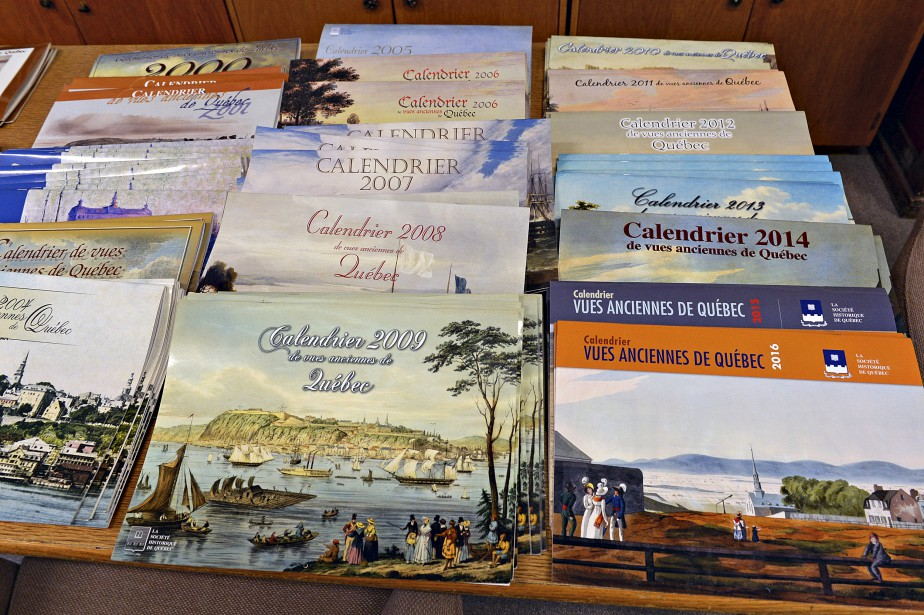 La collection de tous les calendriers de la Société historique de Québec, de véritables livres d'histoire (Le Soleil, Patrice Laroche)