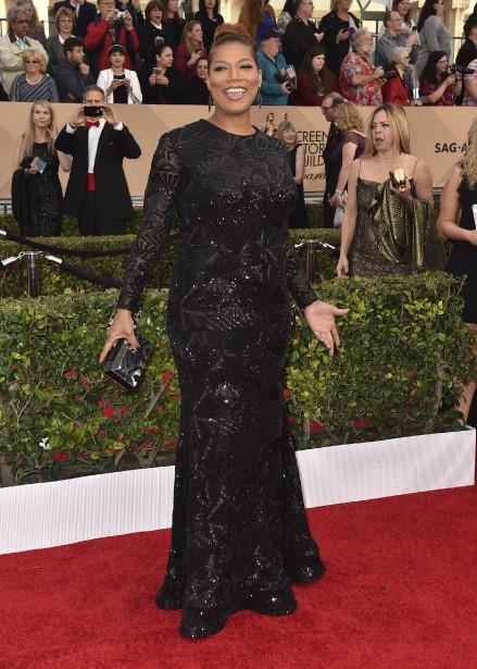 Queen Latifah a reçu le prix de l'interprétation féminine dans le film pour la télévision <em>Bessie</em>. (Photo AP, Jordan Strauss/Invision)