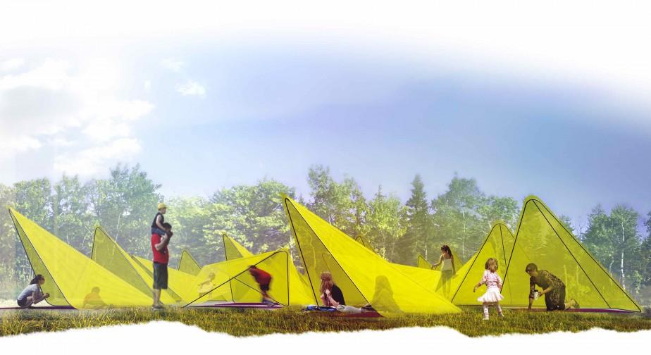 <i>TiiLT</i> de Sean Radford et Chris Wiebe, de Winnipeg (Manitoba). Cette création trouve ses racines dans les géométries formelles du labyrinthe et dans les traditions informelles du camping au Canada. Chaque structure peut basculer entre deux orientations en réponse à la position du soleil. Les structures légères et la toile d'un jaune brillant rappellent un champ de fleurs. <em><strong>Michèle LaFerrière</strong></em> ()
