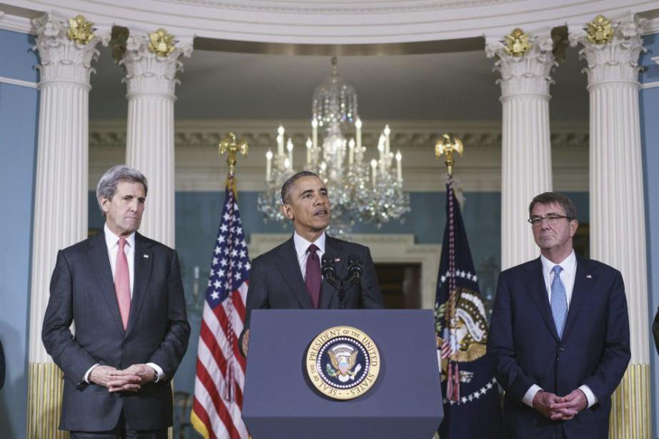 John Kerry, Barack Obama et Ashton Carter... (PHOTO MANDEL NGAN, ARCHIVES AGENCE FRANCE PRESSE)
