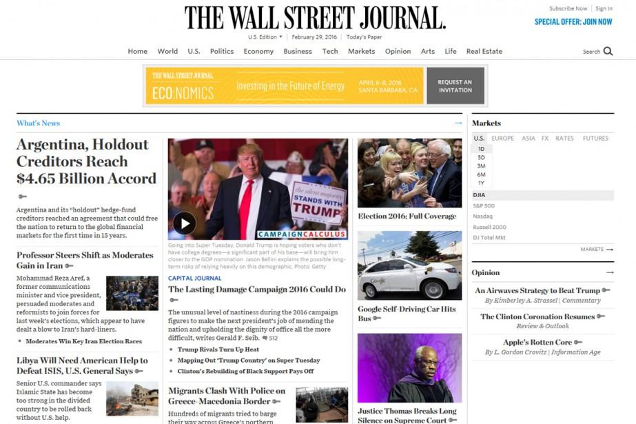 Seuls trois journaux, dont le Wall Street Journal,... (CAPTURE D'ÉCRAN)