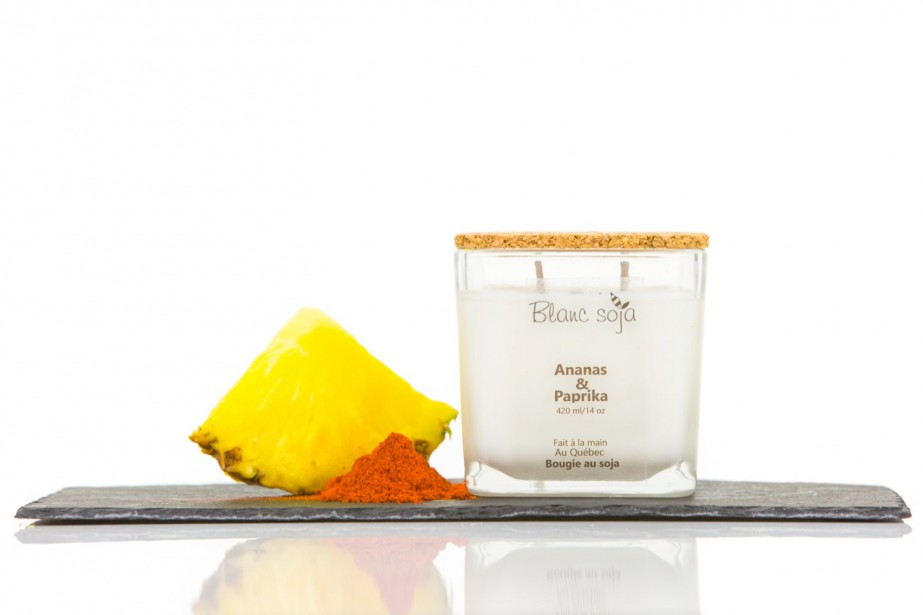 Bougie au soja ananas et paprika, Blanc Soja, 28 $ (etsy.com/ca-fr/shop/BlancSoja) (Photo tirée d'Etsy)