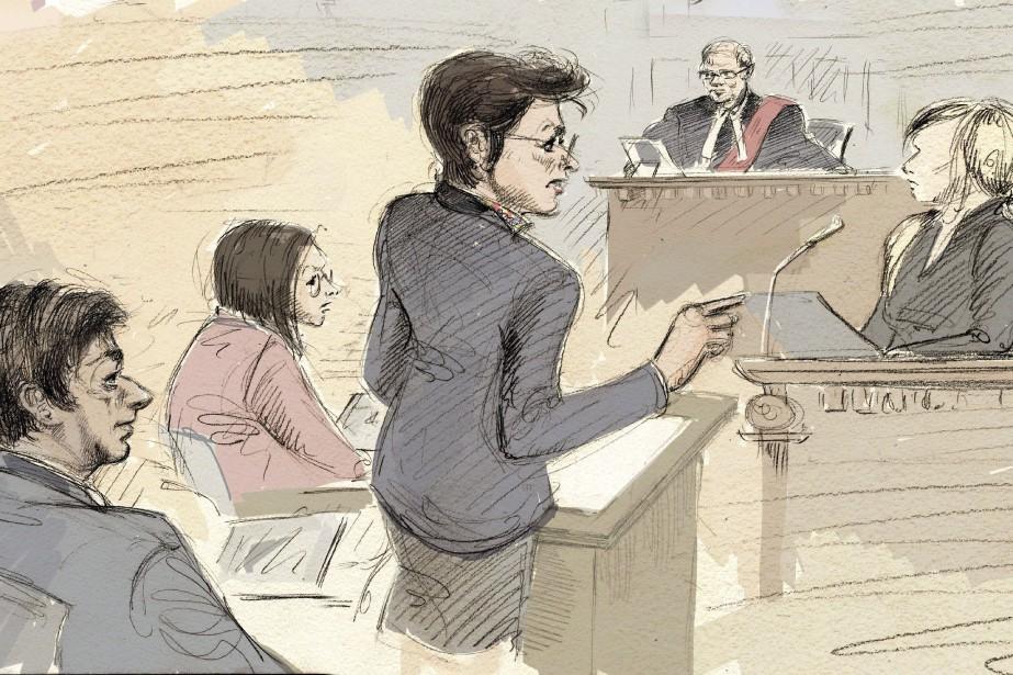 De gauche à droite, Jian Ghomeshi, une assisante... (Illustration Alexandra Newbould, archives La Presse Canadienne)