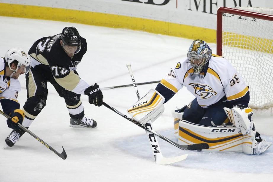 Patric Hornqvist a marqué un 20e but cette saison et les Penguins... (Photo AP)