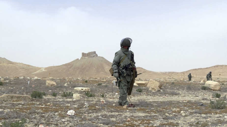 En deux jours de travail au milieu des colonnes antiques ceinturées par le désert, les quelque 100 démineurs russes disent avoir inspecté environ 20 des 234 hectares du site. (AFP, Max Delany)