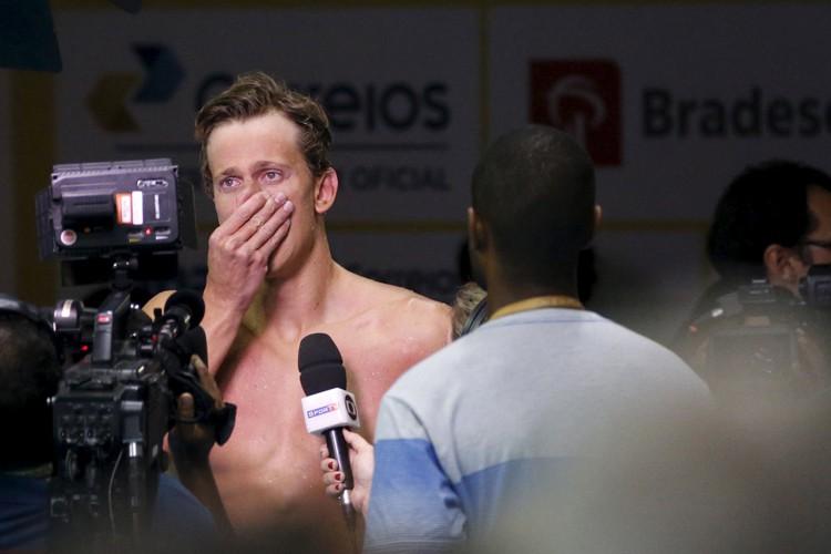 Cesar Cielo a versé quelques larmes devant les... (PHOTO REUTERS)