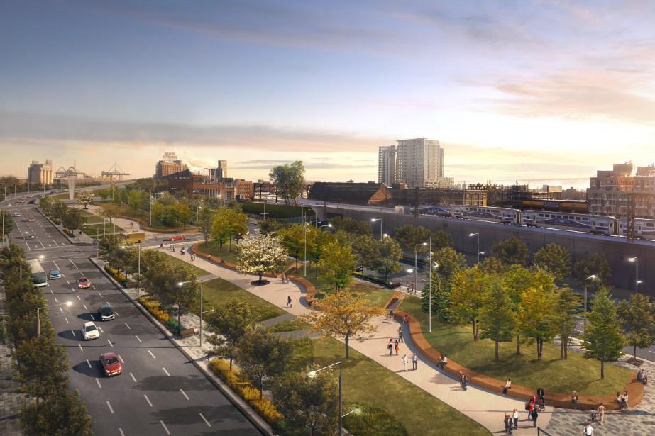 Le boulevard urbain qui remplacera l'autoroute Bonaventure comprendra... (ILLUSTRATION FOURNIE PAR LA VILLE DE MONTRÉAL)