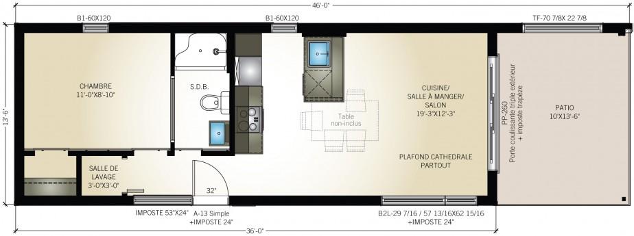 Modèle Eldorado, 1 chambre. (Pro-Fab)