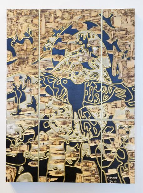 Artiste de l'américanité,RenéDerouinexpose ses poèmes visuels, remplis d'oiseaux tourbillonnants, à la Galerie MichelGuimont. Ici, <em>A 1 - L'Or des rapaces</em> (Le Soleil, Jean-Marie Villeneuve)