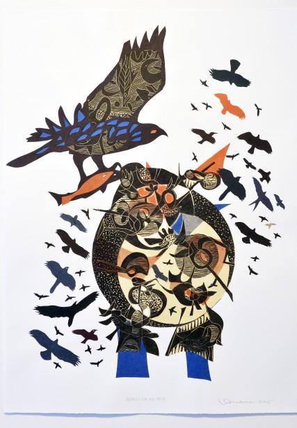 Artiste de l'américanité,RenéDerouinexpose ses poèmes visuels, remplis d'oiseaux tourbillonnants, à la Galerie MichelGuimont. Ici,<em> Rapaces A-18</em> (Le Soleil, Jean-Marie Villeneuve)