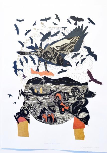 Artiste de l'américanité,RenéDerouinexpose ses poèmes visuels, remplis d'oiseaux tourbillonnants, à la Galerie MichelGuimont. Ici, <em>Rapaces A-10</em> (Le Soleil, Jean-Marie Villeneuve)