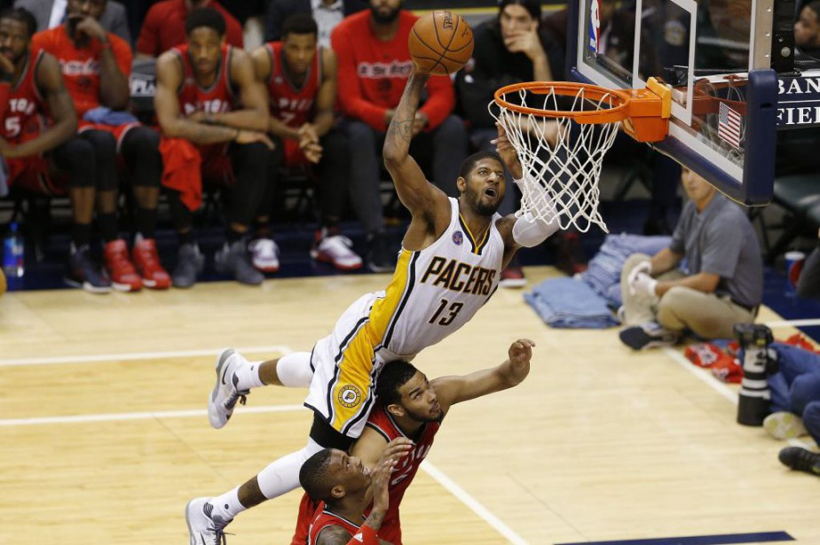 Paul George marque en force.... (Photo USA Today Sports)