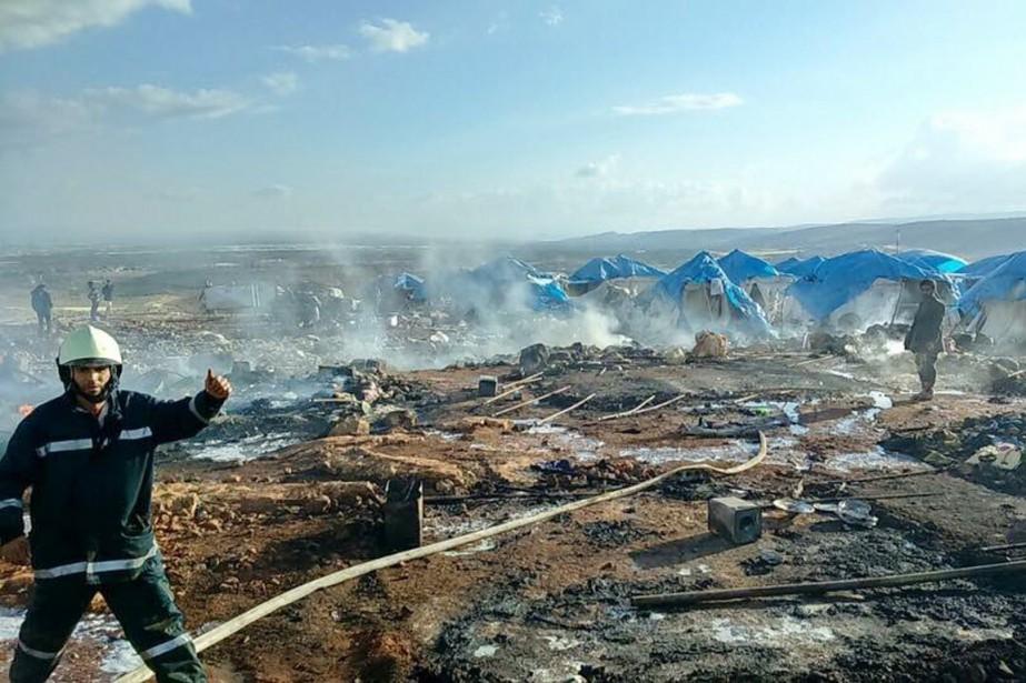 Le camp d'Al-Kammounaprès de la ville de Sarmada... (PHOTO CONFLICT NEWS)