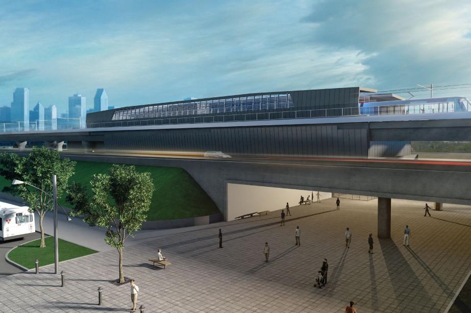Vision d'une station type du projet de SLR.... (Image fournie par la Caisse de dépôt et placement du Québec)