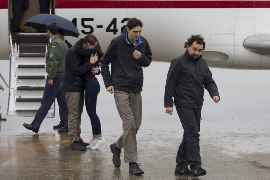 Antonio Pampliega, Jose Manuel Lopez et Angel Sastre. Le... (PHOTO REUTERS)