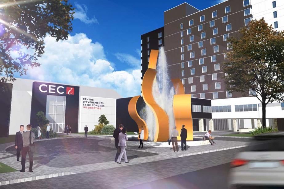 Voilà à quoi ressemblera le site du Centre d'événements et de congrès interactifs. (Stéphane Lessard, Le Nouvelliste)