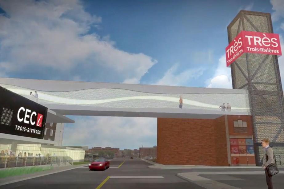 Une passerelle est prévue pour relier le CECI au stationnement Badeaux. (Stéphane Lessard, Le Nouvelliste)